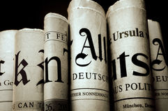 News. Six old newspapers over black background Royalty Free Stock Images