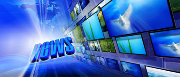 News. Blue internet background (Global and Communication concept Royalty Free Stock Photo