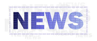 News. Word NEWS in blue color with frame against white background with light gray NEWS text Stock Image