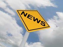 NEWS. Yellow Traffic Sign - News Ahead Stock Photo