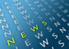News. Blurry gradient background with news type and green accentuated part Royalty Free Stock Photo