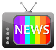 News. Watching the news on a retro television Royalty Free Stock Photo