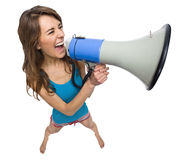 News. Woman yelling in a megaphone isolated on white Stock Photos