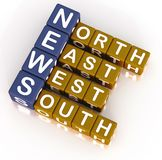 News. Words with full forms of North, east, west and south in 3d blocks on white space royalty free illustration