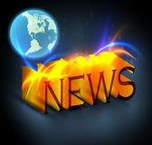 News. 3d colorful news text with globe Royalty Free Stock Images