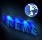 News. 3d colorful news text with globe Royalty Free Stock Image