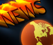 News. 3d colorful news text with globe Stock Photos