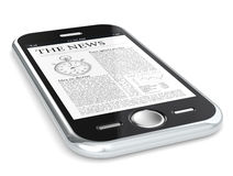 The News. Black Smartphone browsing The News Stock Photography