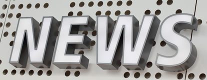 News. A sign indicating the availability of news Stock Images