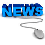 News. Online news concept, word news on white background connected with a wired mouse stock illustration