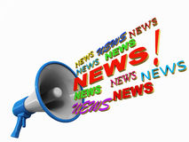 News. Coming out of a megaphone, white background, blue bullhorn vector illustration