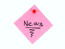 News. Sign written on the pink piece of paper, attached on the notice board, isolated on white background royalty free stock image