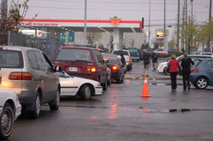 News. Hundredes of motorists line up for hours to buy half price gas in Mississauga, Canada on Friday, May 2nd, 2008 Royalty Free Stock Image