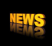 News. Golden news text on black background - 3d illustration Royalty Free Stock Photos