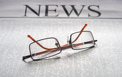 News. Top news on a newspaper page. information media Stock Photo