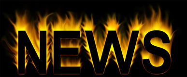 News. Word in fire background Royalty Free Stock Image