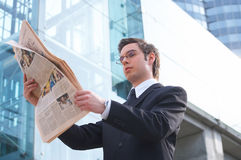 News. Businessman reads the newspaper Royalty Free Stock Image