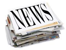 News. Paper stack. Top file showing latest news Royalty Free Stock Photography