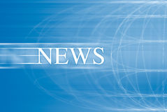 News. On a blue background with world in motion Stock Photos