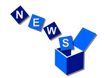 News. Illustration of blue cubes forming the word 'News' falling in a blue box, isolated on a white background Royalty Free Stock Photos
