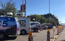 News Agencies Vans. PHOENIX, AZ, USA - OCTOBER 4,  2017:  Local major news TV agencies parked next to DBack Arena in anticipation of Do Or Die game, Phoenix Stock Photo
