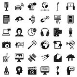 News agency icons set, simple style. News agency icons set. Simple set of 36 news agency vector icons for web isolated on white background Royalty Free Stock Images
