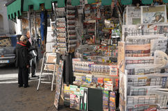 News agent kiosk in Rome. Typical news-stand in Rome,  Italy Royalty Free Stock Photo