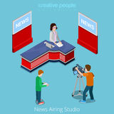 News airing studio online broadcasting concept. Fl Royalty Free Stock Images