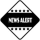 NEWS ALERT on black diamond shaped sticker label. Stock Images