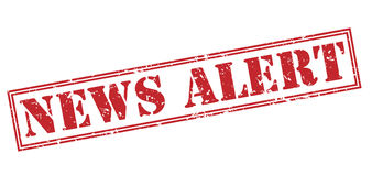 News alert stamp. News alert red stamp on white background Stock Image