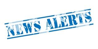 News alerts blue stamp. Isolated on white background stock illustration