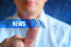 News anchor concept. News title button, news concept. Person or businessman touch text button `news` on the virtual screen, hightech design background for news royalty free stock photos
