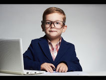 News anchor little boy. funny child headline tv Royalty Free Stock Image