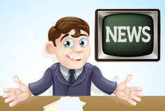 News anchor man. An illustration of a cartoon television news anchor man presenting the TV news Stock Photo