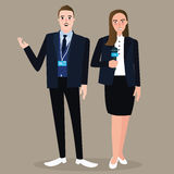 News anchor man woman standing holding microphone wearing formal suit press Royalty Free Stock Images