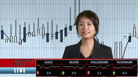 News anchor presenting financial news. From TV studio stock footage