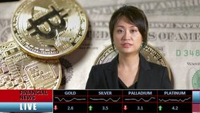 News anchor presenting financial news. From TV studio, featuring bitcoin cryptocurrency stock footage