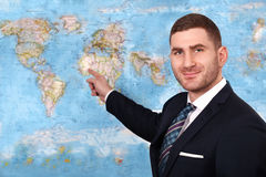 News anchor. Presenting the world weather report Royalty Free Stock Image