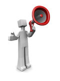 News and announcements concept. Man speak with a megaphone announcement concept 3d illustration Royalty Free Stock Photography