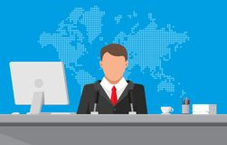 News announcer in the studio. Man with microphone, desktop pc, coffee cup, world map. News announcer in the studio. Journalism, live report, breaking hot news Royalty Free Stock Photo