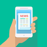 News app on smartphone screen. Online digital mobile media. Hand holds smartphone vector. News app on smartphone screen. Online digital media. Hand holds Royalty Free Stock Image
