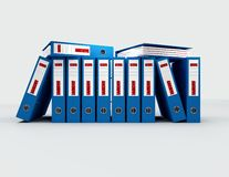 News archive. Contained journalistic file in blue ring binders stock image