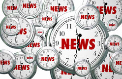 News Around the Clock Time Flying Word Royalty Free Stock Image