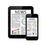 News articles on modern digital tablet and mobile smart phone. Concept with business newspaper on screen tablet PC and smart phone, isolated on white background Royalty Free Stock Photography