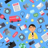 News attributes pattern. Broadcasting and news symbols vector illustration