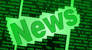 News background. A green sign or poster the word News on a text background Stock Photo