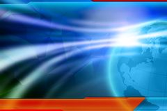 News background wallpaper. News background template. Blue shiny background with lower third for news text. Template for global news Stock Photo
