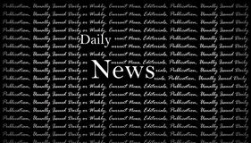 Daily News Background. Daily news white text on black background Stock Photography