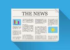 The News. On blue background with shadow Stock Photography