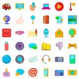 News broadcast icons set, cartoon style. News broadcast icons set. Cartoon set of 36 news broadcast vector icons for web isolated on white background Royalty Free Stock Photo